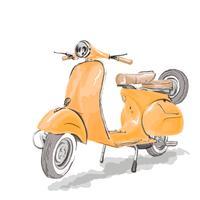 Vetor de scooter vespa com estilo aquarela.