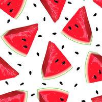 Pedaços de melancia vermelha no fundo sem emenda. vetor