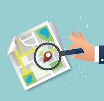 mão segurando a lupa e pin ícone de localização e mapa vetor, o conceito de viagens