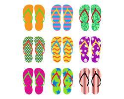 Coleção de flip-flops coloridos em fundo branco - ilustração vetorial vetor