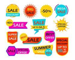 Conjunto de marcas de elemento de design de banner de venda - ilustração vetorial vetor