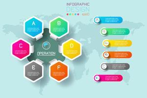 As etiquetas do hexágono do negócio dão forma à barra infographic dos círculos. vetor