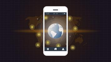 Tela do telefone inteligente com fundo de conexão de rede Global.