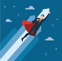 um empresário com capa vermelha para o vetor de sucesso, ilustração do conceito de negócio