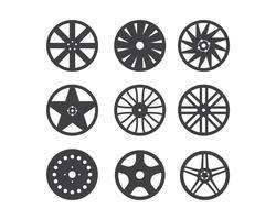 Conjunto de aro de roda isolado no fundo branco vetor