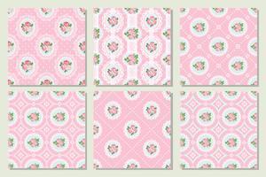 Conjunto coleção de chique gasto rosa sem costura de fundo
