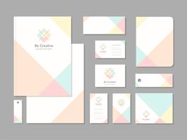 Conjunto de modelo de identidade corporativa geométrica pastel