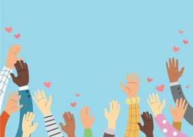 Mãos levantadas de voluntariado e conceito de vetor de fundo azul