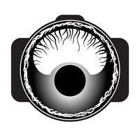 Olho da aranha no logotipo da lente macro. vetor