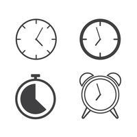 Conjunto de ícones de relógios de linha - ilustração vetorial vetor