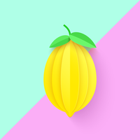 Fundo de papel arte limão 3D vetor