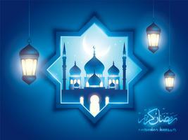 Ramadan Kareem fundo islâmico com mesquita e lanterna árabe