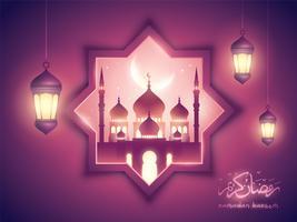 Ramadan Kareem fundo islâmico com mesquita e lanterna árabe vetor