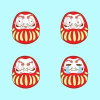 conjunto de vetores de emoji dakuma bonito japão