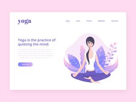 Modelo de vetor de página de destino de ioga