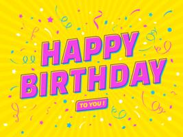 Feliz aniversario pop art tipografia vetor