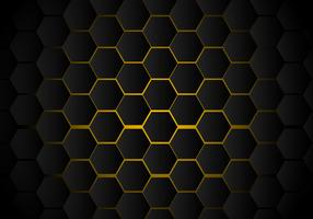 Teste padrão preto abstrato do hexágono no estilo de néon amarelo da tecnologia do fundo. Favo de mel.