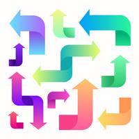 Conjunto de setas coloridas de gradiente torcido vetor