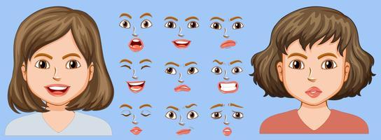 Menina, com, diferente, expressão facial vetor