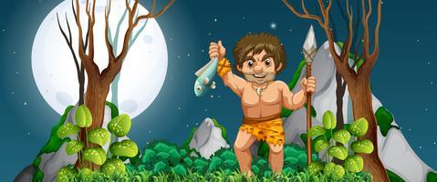 Um homem das cavernas à caça de comida vetor
