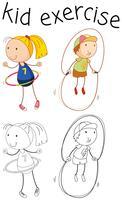 Doodle personagem personagem excercise vetor