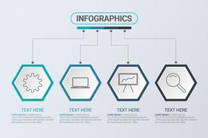 Infografia de quatro etapas. Estratégia de fluxo de trabalho ou trabalho em equipe. Modelo de negócios hexágono com opções para brochura, diagrama, fluxo de trabalho, cronograma, web design vetor