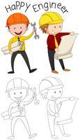 Doodle personagem engenheiro feliz vetor