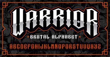 Fonte de guerreiro, tipo de letra brutal para temas como motociclista, tatuagem, rock and roll e muitos outros. vetor