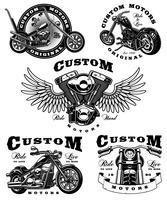 Conjunto de ilustrações de motociclista em background_3 branco