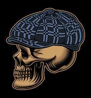 Vetorial, ilustração, de, um, cranio, em, um, checkered, boné