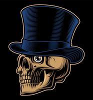 Vetorial, ilustração, de, um, cranio, em, chapéu superior
