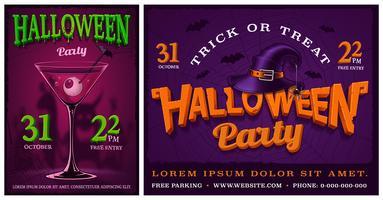 Conjunto de cartazes de festa de halloween. vetor
