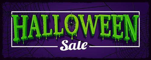 Banner horizontal de venda de Halloween com teia de aranha