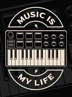 Ilustração em vetor de teclado midi no fundo escuro