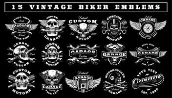 Conjunto de emblemas de motociclista Vintage vetor