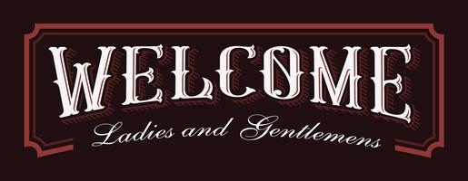 Ilustração de rotulação vintage de boas-vindas. vetor