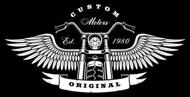 Moto vintage com asas em fundo escuro