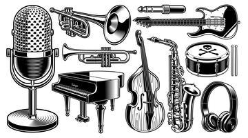 Conjunto de ilustrações preto e brancas de instrumentos musicais vetor