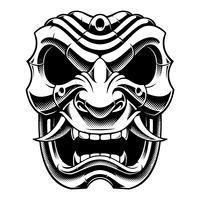 Máscara de guerreiro samurai (versão em preto e branco) vetor