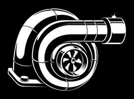 Ilustração em vetor de turbocompressor.
