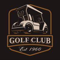 Logotipo de vetor de carrinho de golfe em fundo escuro