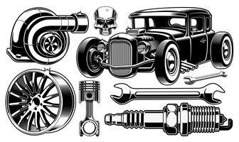 Elementos de design de reparação automóvel.
