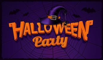 Banner de festa de Halloween com letras de abóbora e chapéu de bruxa