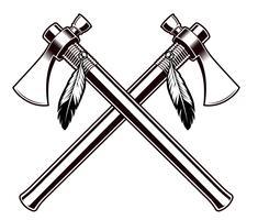 Ilustração em vetor preto e branco dos machados