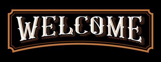 Bem-vindo vintage letras. vetor