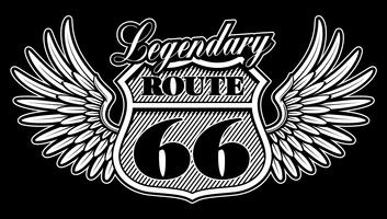 Emblema vintage da rota 66 com asas.