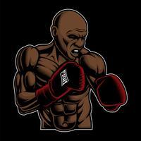 Ilustração colorida de lutador de caixa no fundo escuro vetor