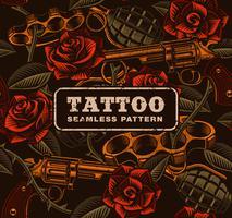 Arma com rosas, padrão sem emenda de tatuagem. vetor