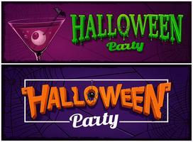 Conjunto de bandeiras de festa de halloween, modelos de design.