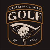 Emblema com taco de golfe e bola em fundo escuro